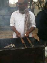 Rahul Mitra making Kababs